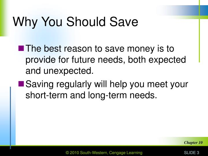 Why You Should Save
