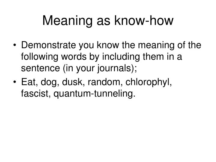 Meaning as know-how
