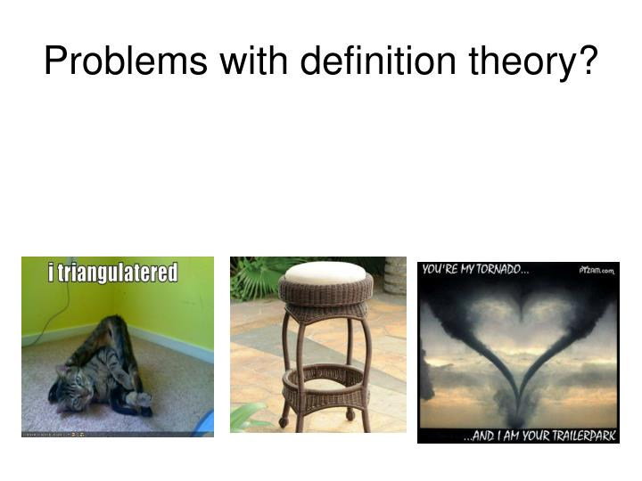 Problems with definition theory?