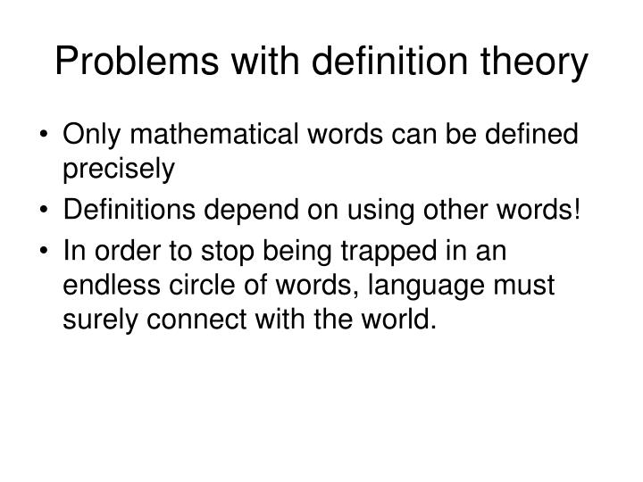 Problems with definition theory