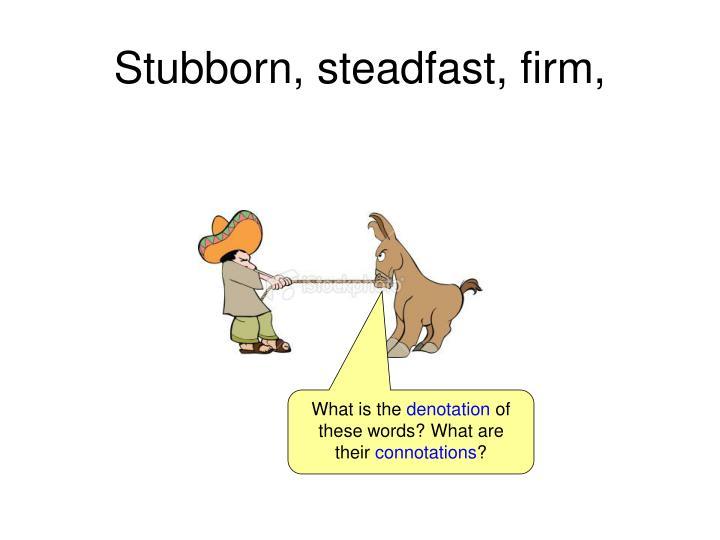 Stubborn, steadfast, firm,
