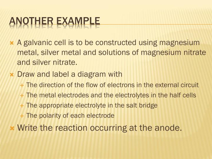 A galvanic cell is to be constructed using magnesium metal, silver metal and solutions of magnesium nitrate and silver nitrate.