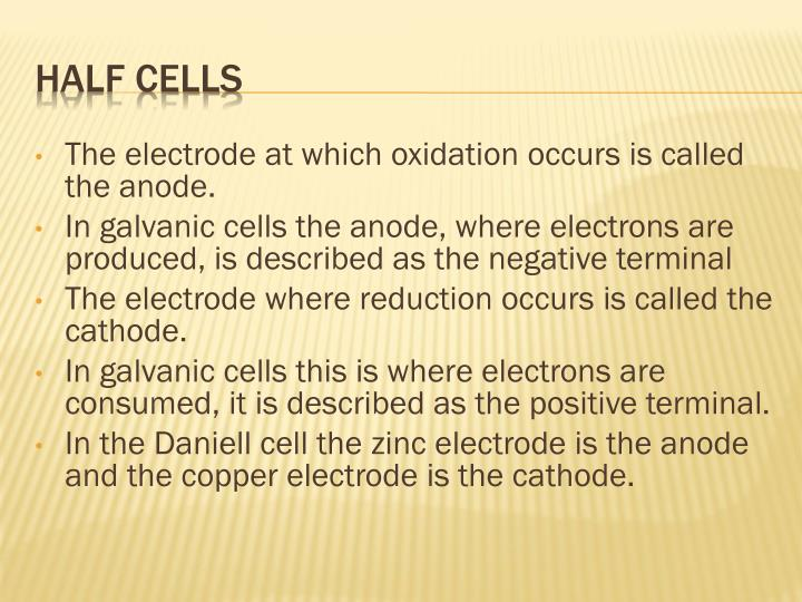 The electrode at which oxidation occurs is called the anode.