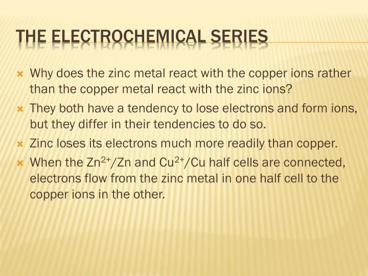 Why does the zinc metal react with the copper ions rather than the copper metal react with the zinc ions?