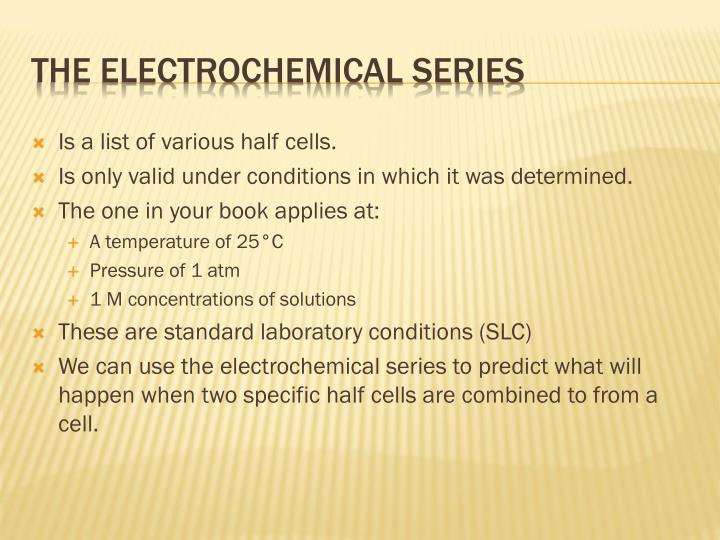 Is a list of various half cells.
