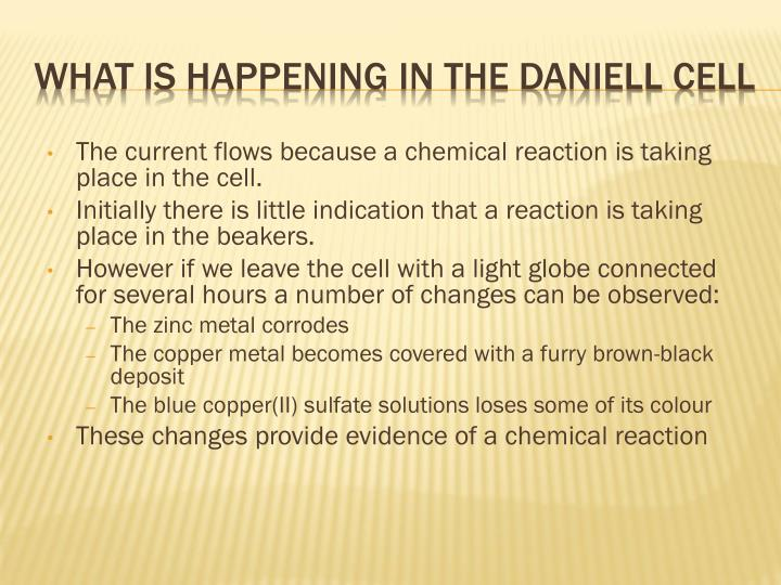 The current flows because a chemical reaction is taking place in the cell.