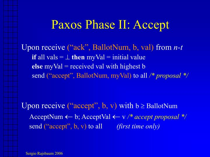 Paxos Phase II: Accept