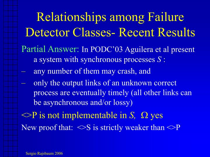 Relationships among Failure Detector Classes- Recent Results