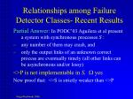 relationships among failure detector classes recent results