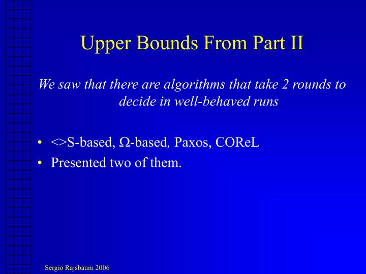 Upper Bounds From Part II