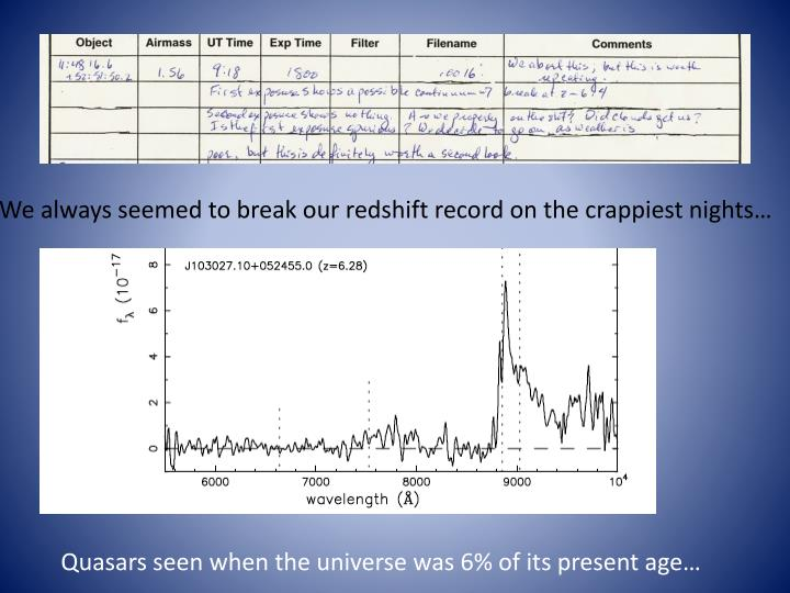 We always seemed to break our redshift record on the crappiest nights…