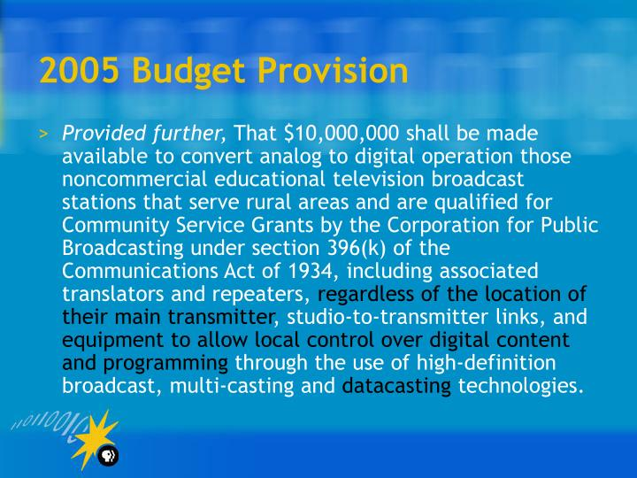 2005 Budget Provision