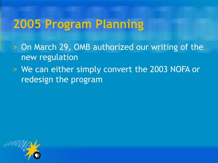 2005 Program Planning