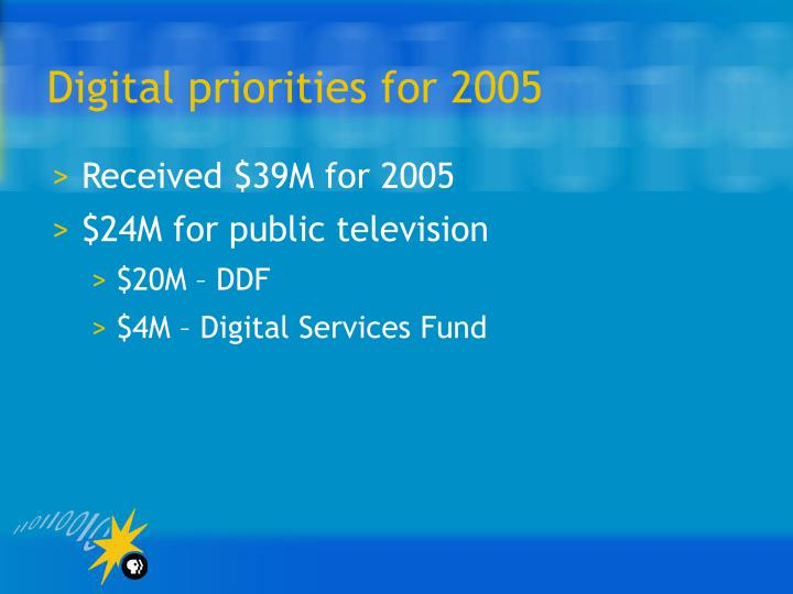 Digital priorities for 2005