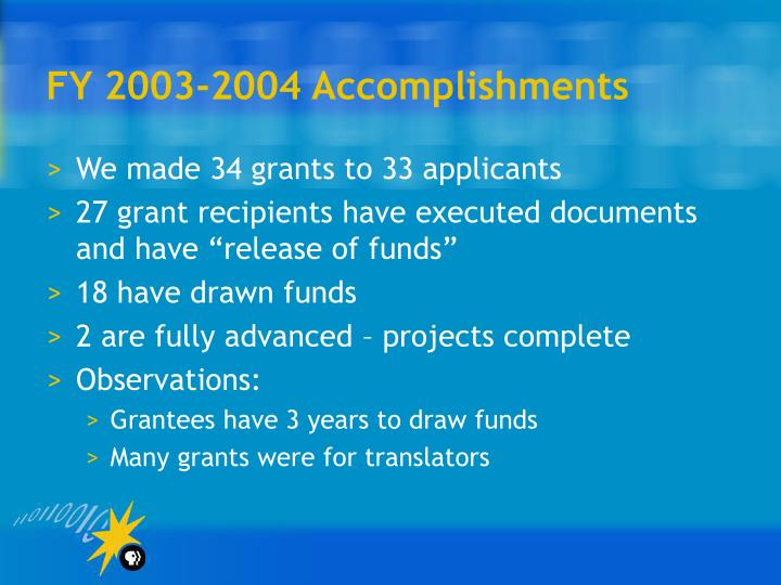 FY 2003-2004 Accomplishments