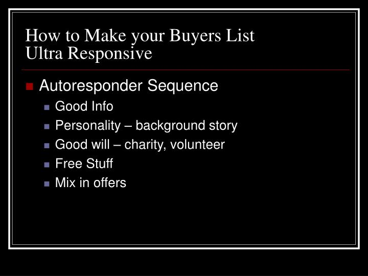 How to Make your Buyers List