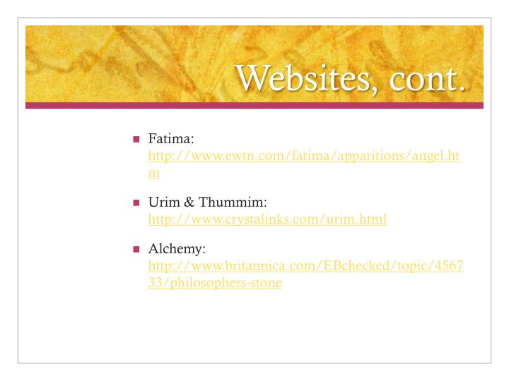 Websites, cont.