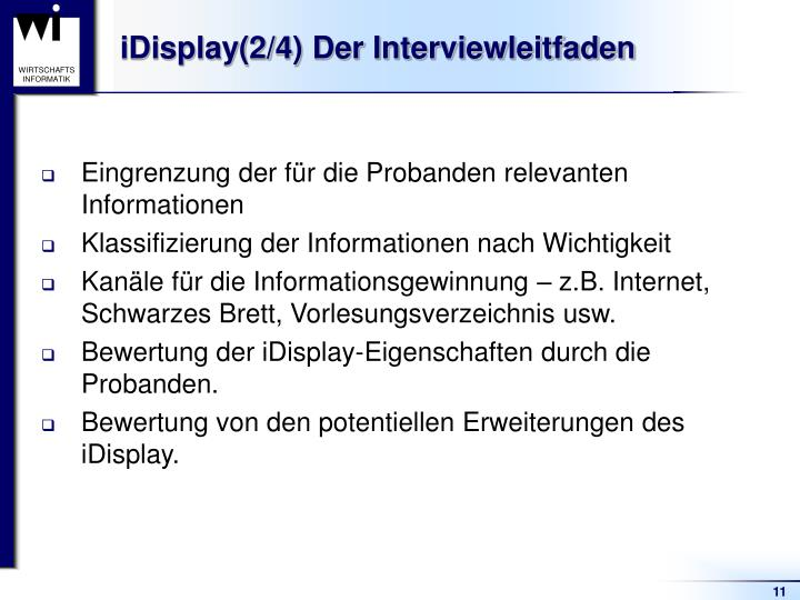iDisplay(2/4) Der Interviewleitfaden