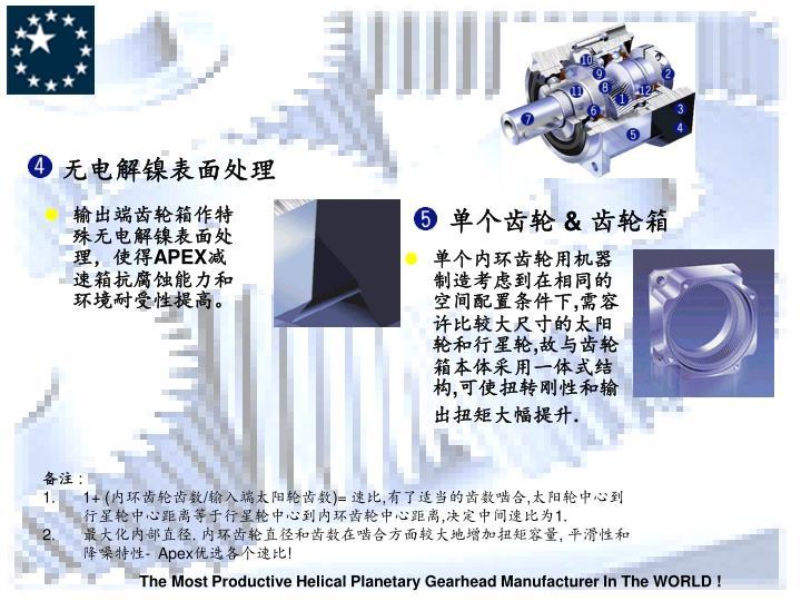 输出端齿轮箱作特殊无电解镍表面处理,使得