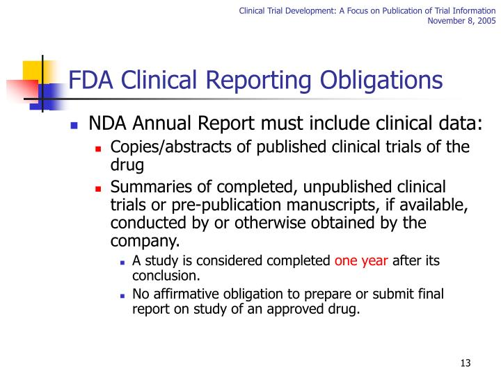FDA Clinical Reporting Obligations