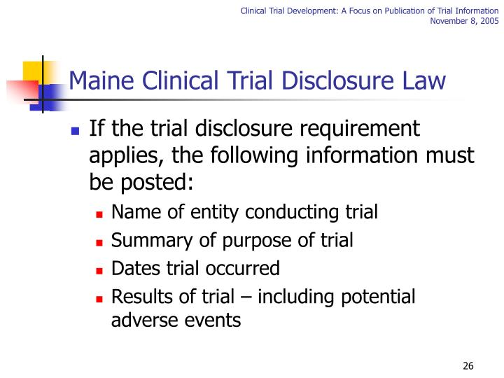 Maine Clinical Trial Disclosure Law