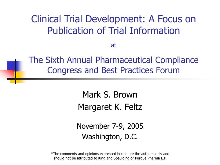 Mark s brown margaret k feltz november 7 9 2005 washington d c