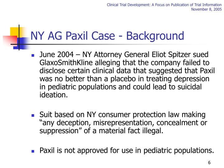NY AG Paxil Case - Background