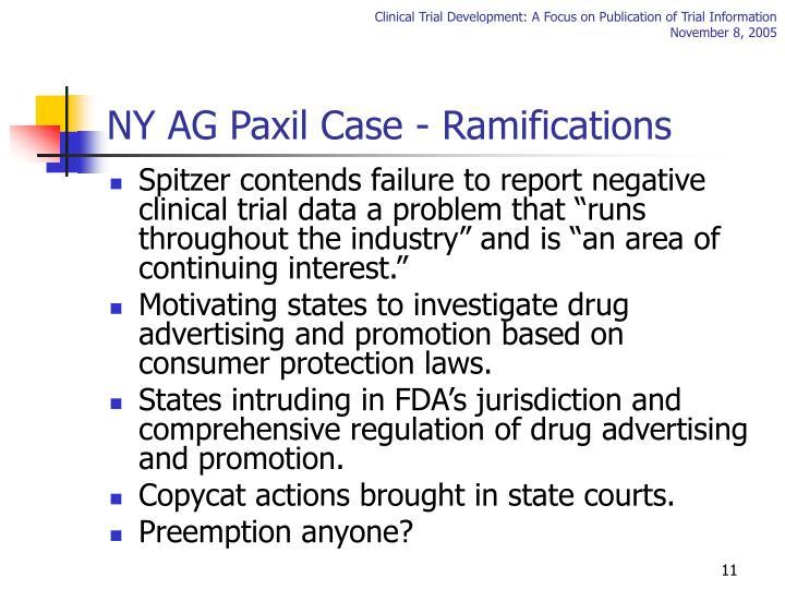 NY AG Paxil Case - Ramifications