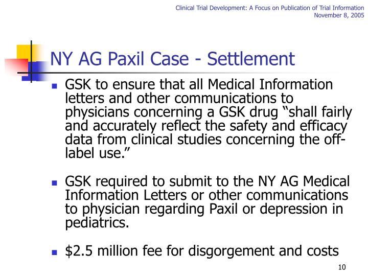 NY AG Paxil Case - Settlement