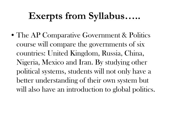 Exerpts from Syllabus…..