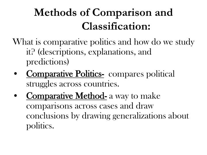 Methods of Comparison and Classification: