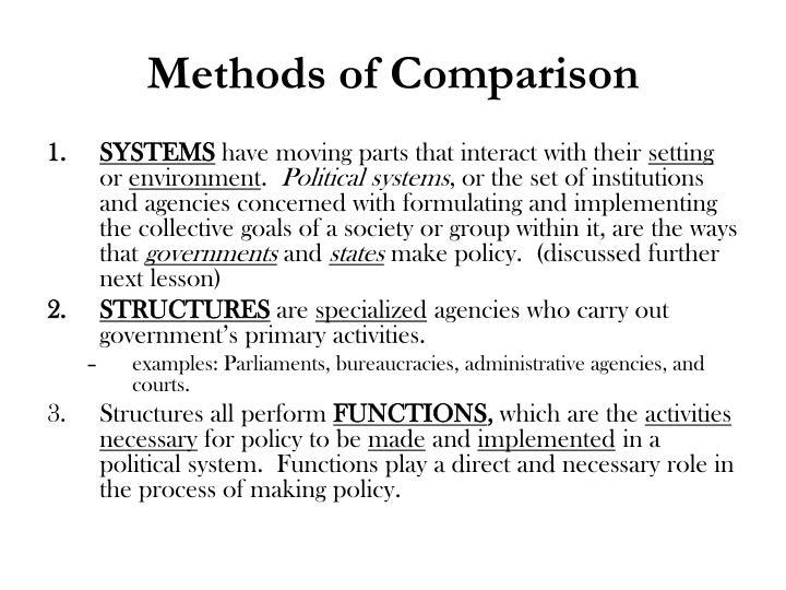 Methods of Comparison