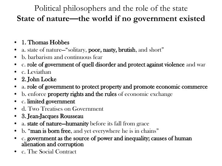 Political philosophers and the role of the state