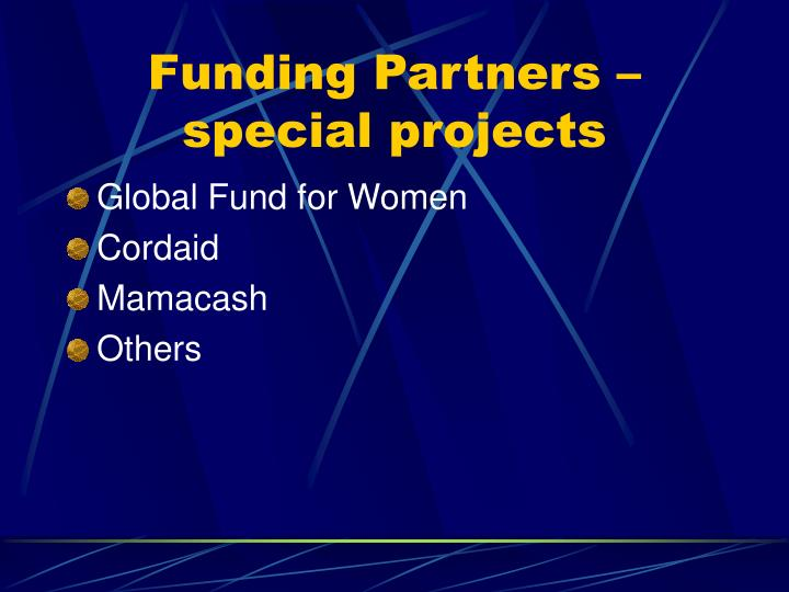 Funding Partners – special projects