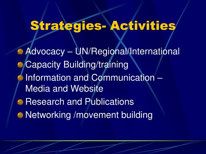 Strategies- Activities