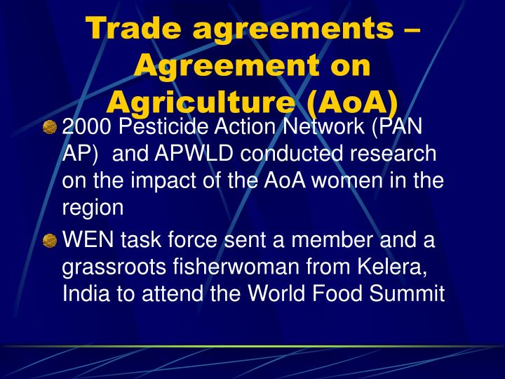 Trade agreements – Agreement on Agriculture (AoA)
