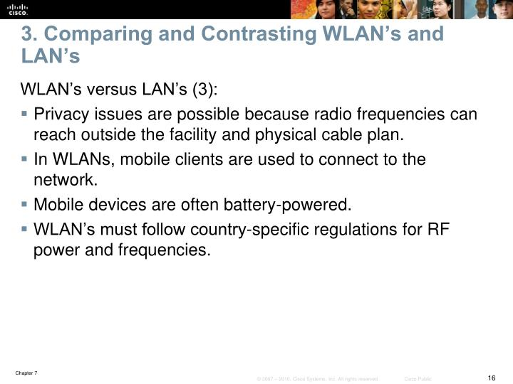 3. Comparing and Contrasting WLAN's and LAN's