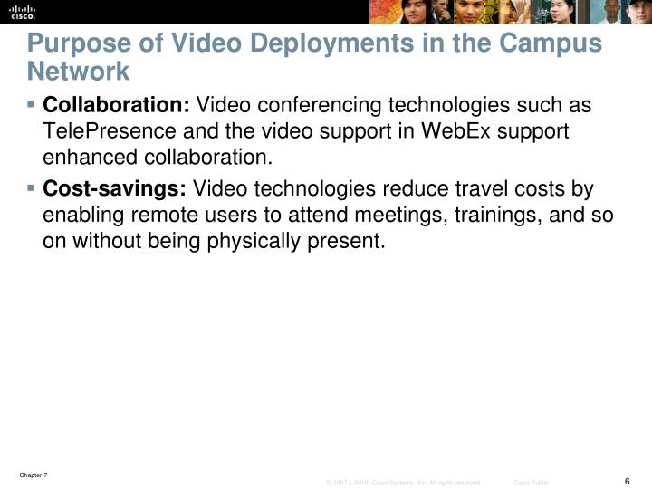 Purpose of Video Deployments in the Campus Network