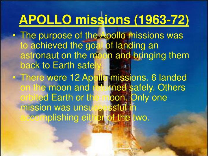 APOLLO missions (1963-72)