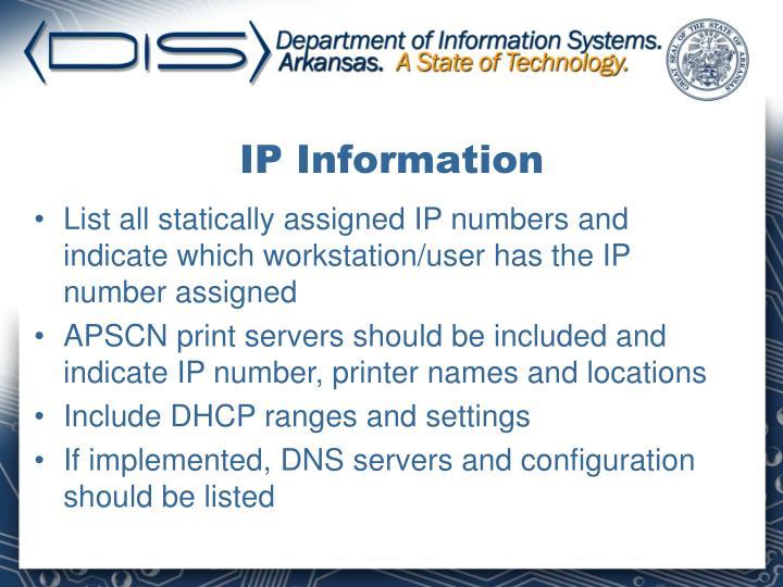 IP Information