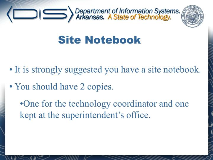 Site Notebook