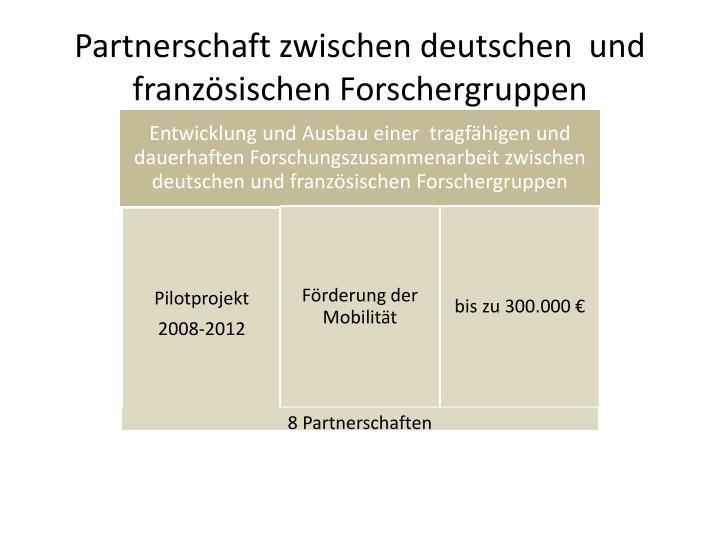 Partnerschaft zwischen deutschen  und französischen Forschergruppen