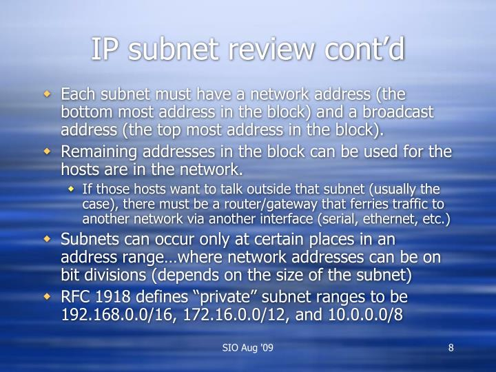 IP subnet review cont'd