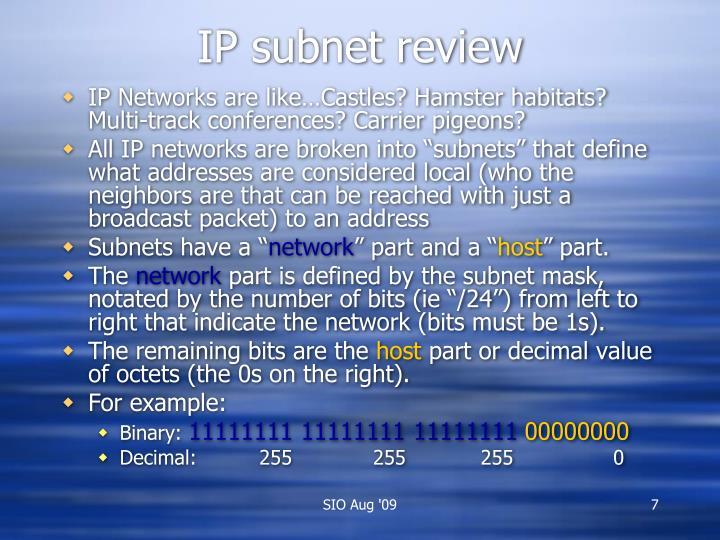 IP subnet review