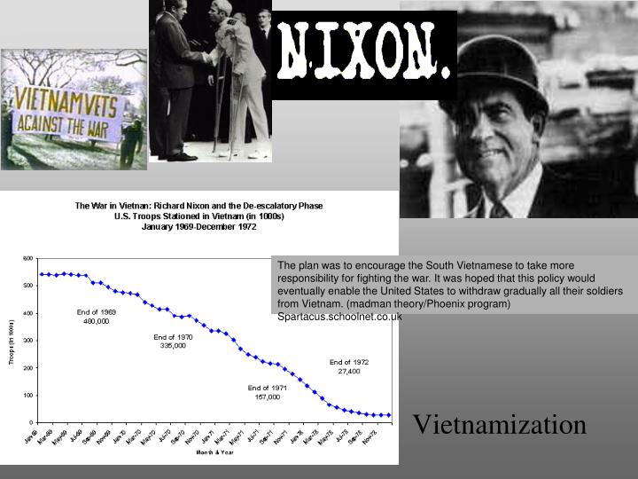 vietnam and the united states policy of vietnamization Events 1969 nixon announces policy of vietnamization and nixon doctrine, ho chi minh dies 1970 united states bombs viet cong sites in cambodia.