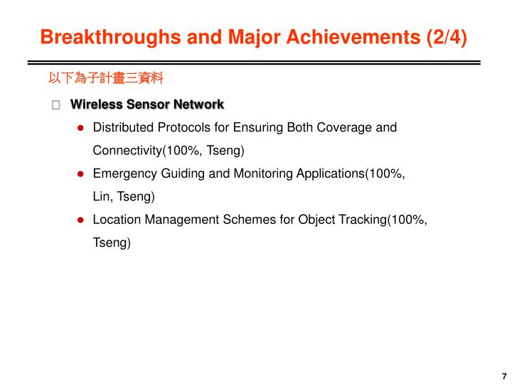 Breakthroughs and Major Achievements (2/4)