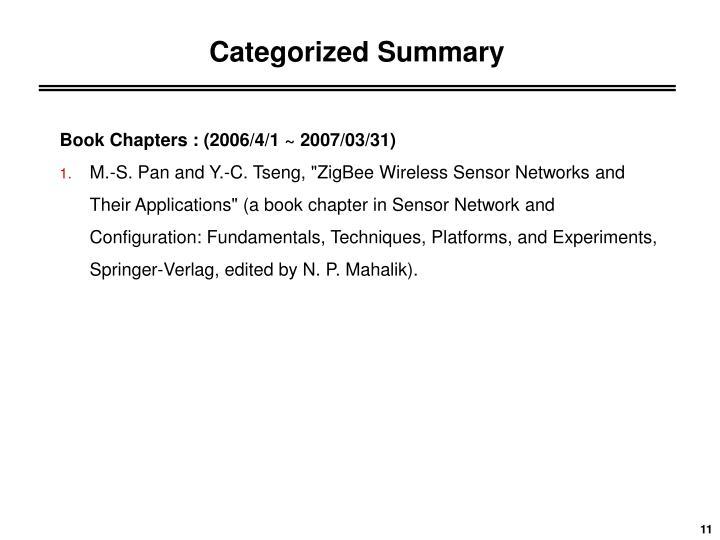 Categorized Summary