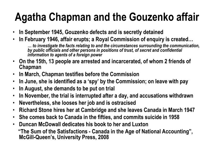 Agatha Chapman and the Gouzenko affair