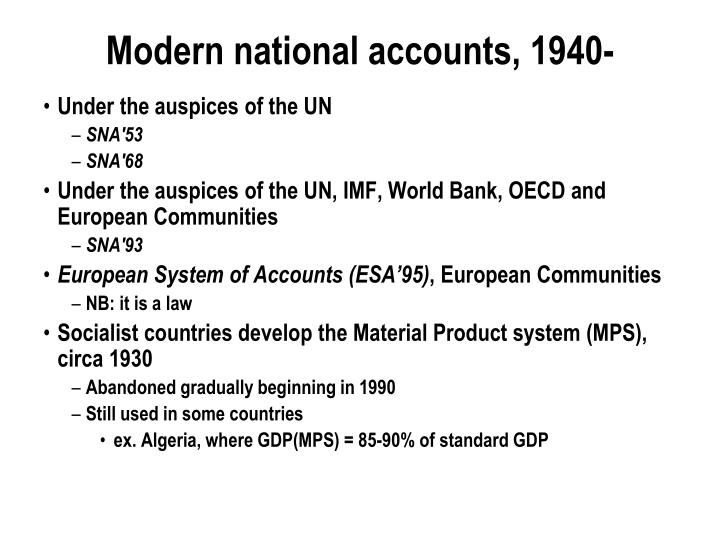 Modern national accounts, 1940-