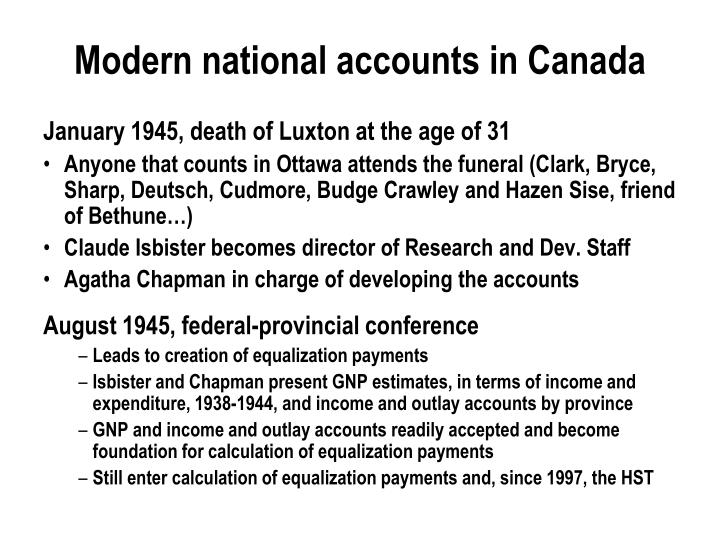 Modern national accounts in Canada